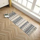 Boho Teppich mit Quasten Baumwolle Handgewebt Carpet Teppiche Küchenteppich Läufer Waschbar für Outdoor Wohnzimmer Flur Schlafzimme 60 x 180 cm