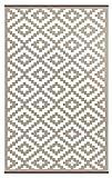 Green Decore Grün Deko-wendbar-leicht Kunststoff Teppich Nirvana Taupe weiß, 4X 6FT (120x 180cm), Taupe/weiß