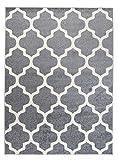 Orientalisches Marokkanisches Teppich - Dichter und Dicker Flor Modern Designer Muster - Ideal Für Ihre Wohnzimmer Schlafzimmer Esszimmer - Grau Weiß - 60 x 100 cm Casablanca Kollektion von Carpeto