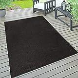 Paco Home In- & Outdoor Teppich, Terrasse u. Balkon, Wetterfest Einfarbig Mit Struktur, Grösse:300x400 cm, Farbe:Schwarz