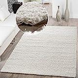 T&T Design Shaggy Teppich Hochflor Langflor Teppiche Wohnzimmer Preishammer versch. Farben, Größe:300x400 cm, Farbe:Creme