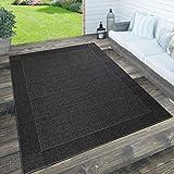 Paco Home In- & Outdoor Teppich, Terrasse u. Balkon, Wetterfest Einfarbig m. Struktur, Grösse:160x230 cm, Farbe:Schwarz