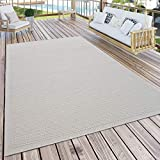 Paco Home Outdoor Teppich Für Terrasse Und Balkon Küchenteppich Einfarbig Modern Creme Beige, Grösse:80x150 cm