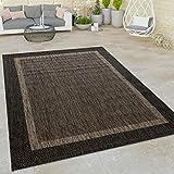 Paco Home In- & Outdoor Flachgewebe Teppich Modern Bordüre Natürlicher Look In Braun, Grösse:80x150 cm