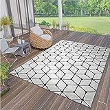 VIMODA Teppich Rauten Muster In- und Outdoor Tauglich Robuster Flachgewebe 100% Polypropylen Weiß, Maße:160x230 cm
