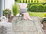 the carpet Palma In- & Outdoor Teppich Flachgewebe, Robust, Modernes Design, Vintage Optik, Used Look, Superflach, UV- und Witterungsbeständig, Orient Muster, Grau-Orient, 80 x 150 cm