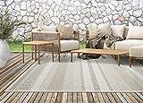 Calgary In- & Outdoor Teppich Flachgewebe, Modernes Design, Trendige Farben, Superflach, UV- und Witterungsbeständig, Beige, 120 x 160 cm