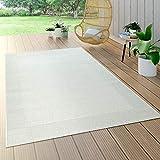 Paco Home In- & Outdoor-Teppich Mit Bordüre, Für Balkon Und Terrasse, Flachgewebe In Weiß, Grösse:160x230 cm