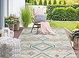 Palma In- & Outdoor Teppich Flachgewebe, Robust, Modernes Design, Vintage Optik, Used Look, Superflach, UV- und Witterungsbeständig, Orient Muster, Creme, 160 x 230 cm