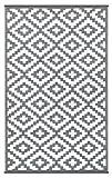 Green Decore Wendbarer Öko-Teppich aus recyceltem Kunststoff (Plastik) für Innen und Außen/Federleicht - 120 x 180 cm Grau/weiß