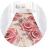 Teppiche Laufer Teppich Flur, Modern Rosa Blumen Muster Rutschfest Teppiche Hohe Qualität Lang Korridor Teppich Fur Wohnzimmer Hotel Küche Treppen Außenteppich Pink-80X500CM
