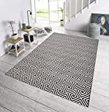 bougari In- und Outdoor Teppich Karo Schwarz, 80x200 cm