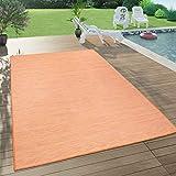 Paco Home In- & Outdoor-Teppich Für Wohnzimmer, Balkon, Terrasse, Flachgewebe Terracotta, Grösse:160x220 cm