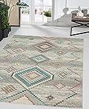 the carpet Palma In- & Outdoor Teppich Flachgewebe, Robust, Modernes Design, Vintage Optik, Used Look, Superflach, UV- und Witterungsbeständig, Rauten Muster, Creme, 80 x 150 cm