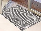 Famibay Fußmatte Grau Waschbar Schmutzfangmatte rutschfest Eingangsteppich Türmatte Fußmatte Sauberlaufmatte 60x90 cm für Haustür Innen Außen