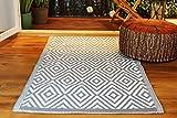 Kamaca Outdoor Teppich Raute für Terrasse Balkon Camping Garten - 90 x 150 cm - pflegeleicht robust witterungsbeständig - auch fürs Badezimmer/Nassräume - leicht zu reinigen (Grau)