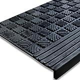 Antirutsch Stufenmatten aus Gummi mit Winkelkante | rutschhemmend für außen und innen | im 5er Set | Design Relief - 65 x 25 cm
