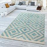 TT Home Outdoor Teppich Blau Weiß Balkon Terrasse Skandi Muster Rauten Wetterfest Weich, Größe:60x100 cm