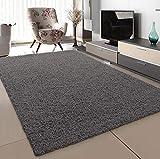 SANAT Teppich Wohnzimmer - Grau Hochflor Langflor Teppiche Modern, Größe: 200x290 cm