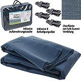 Bocamp Vorzeltteppich Soft 300x400 - ZUSCHNEIDBAR - ohne Ausfransen - formfest - weich - blau - leicht - waschbar - mit Aufbewahrungstasche und Befestigungs Clips - Camping Wohnwagen Teppich Zelt