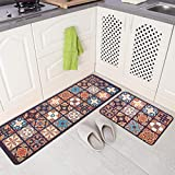 JOFLY Washable Rubber Backing Küchenteppich Set 2 Stück, rutschfeste & Ermüdungsgepolsterte Küchenläufer Teppich Läufer für Küche, Büro, Wäscherei, Wohnzimmer (44x60 + 44x120cm, Farbe-1)