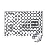 Butlers Colour Clash Outdoor Teppich Mosaik 180x120 cm in Schwarz-Weiß - Flachgewebe Teppich für Innen- und Außenbereich