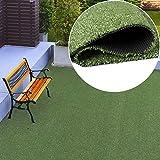TAPISO Rasenteppich Kunstrasen Grün Balkon Terrasse Garten Outdoor Indoor Meterware Kunststoffrasen Teppich Echtrasenoptik Wetterfest 400 x 400 cm