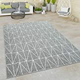 Paco Home Outdoor Indoor Grau Teppich 3D Optik Skandi Look Skandinavisches Design Kurzflor, Grösse:200x290 cm