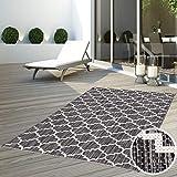 CC Teppich In-Outdoor Wetterfest Schwarz-Weiß Grau 160x230 cm Oeko-Tex Standard Marokkanisches Design 100% Polypropylen Allergiker geeignet