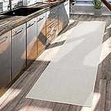 TT Home Teppich Für Outdoor Küchenteppich Balkon Terrasse Unifarbenes Design Modern, Farbe:Elfenbein, Größe:80x150 cm