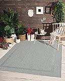 the carpet Mistra In- & Outdoor Teppich Flachgewebe, Modernes Design, Trendige Farben, Superflach, UV- und Witterungsbeständig, Bordüre, Grau, 80 x 150 cm