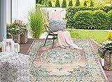 the carpet Palma In- & Outdoor Teppich Flachgewebe, Robust, Modernes Design, Vintage Optik, Used Look, Superflach, UV- und Witterungsbeständig, Orient Muster, Rosa, 80 x 150 cm