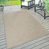 Paco Home In- & Outdoor Teppich, Terrasse u. Balkon, Wetterfest Einfarbig Mit Struktur, Grösse:300x400 cm, Farbe:Beige