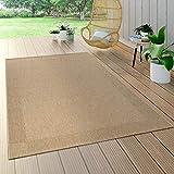 Paco Home In- & Outdoor Flachgewebe Teppich Sisal Optik Natürlicher Look Einfarbig Beige, Grösse:120x170 cm