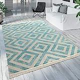 Paco Home Outdoor Teppich Blau Weiß Balkon Terrasse Rauten Muster Skandinavisches Design, Grösse:160x220 cm
