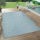Paco Home In- & Outdoor-Teppich Für Wohnzimmer, Balkon, Terrasse, Flachgewebe, Türkis Petrol, Grösse:160x220 cm