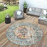 Paco Home In- & Outdoor Teppich Modern Orient Print Terrassen Teppich Türkis, Grösse:Ø 200 cm Rund