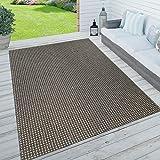 Paco Home In- & Outdoor Teppich, Terrasse u. Balkon, Wetterfest Einfarbig m. Struktur, Grösse:200x290 cm, Farbe:Anthrazit