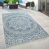 Paco Home In- & Outdoor-Teppich, Für Balkon Und Terrasse Mit Orient-Muster, In Blau, Grösse:80x200 cm