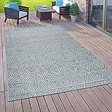 Paco Home In- & Outdoor-Teppich Für Balkon Terrasse, Flachgewebe, 3-D Ethno-Look, In Türkis, Grösse:120x170 cm