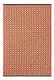 Green Decore'Arabian Nights' Wendbarer Öko-Teppich aus recyceltem Kunststoff (Plastik) für Innen und Außen/Federleicht, 120 x 180 cm, Möhrenfarben/Orange