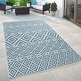 Paco Home In- & Outdoor-Teppich, Für Balkon Und Terrasse Mit Skandi-Muster, In Blau, Grösse:80x200 cm