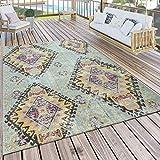 Paco Home Outdoor Teppich Türkis Balkon Terrasse Rauten Orient Pastellfarben Robust Weich, Grösse:200x280 cm