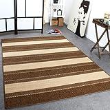 Paco Home In- & Outdoor Teppich Modern Flachgewebe Streifen Sisal Optik Beige Creme, Grösse:60x110 cm