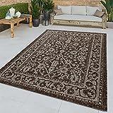 TT Home Flachgewebter In-& Outdoor Teppich Orientalisches Muster Bordüre Braun Modern, Größe:240x340 cm