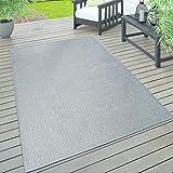 Paco Home In- & Outdoor Teppich, Terrasse u. Balkon, Wetterfest Einfarbig Mit Struktur, Grösse:200x280 cm, Farbe:Grau
