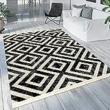 Paco Home Teppich Schwarz Weiß Balkon Terrasse Outdoor Skandi-Design Rauten-Muster Robust, Grösse:80x150 cm