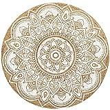 MARRAKESCH Handgewebter runder orientalischer Jute Teppich Daniya Weiß 120cm groß   Outdoor Teppiche rund geflochten für Garten oder Balkon   Indoor als orientalische Deko im Wohnzimmer Kinderzimmer