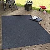 Paco Home In- & Outdoor Flachgewebe Teppich Terrassen Teppiche Natürlicher Look Navy Blau, Grösse:60x100 cm