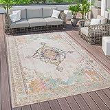 Paco Home Outdoor Teppich Terrasse Balkon Vintage Küchenteppich Orientalisches Muster Bunt, Grösse:120x170 cm